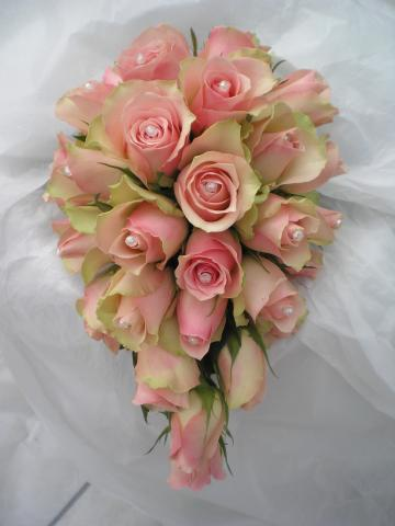 Brompton Floral Designs Wedding Flowers Central London UK NW4 Pale pink roses adorned with pearl heads.