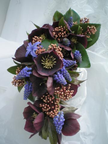 Brompton Floral Designs Wedding Flowers Central London UK NW4  - Muscari, Purple Hellebore and Skimmia